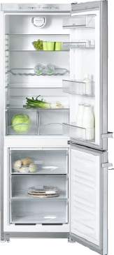 KFN 12823 SD edt/cs-2 - Freestanding bottom mount fridge freezer with convenient features such as NoFrost and EasyOpen lever handle.--Stainless steel/CleanSteel